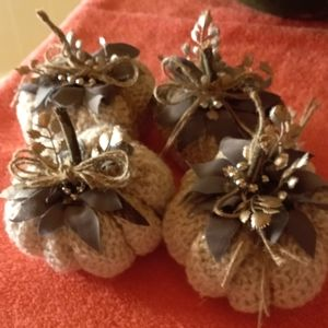 4 hand made sweater pumpkins
